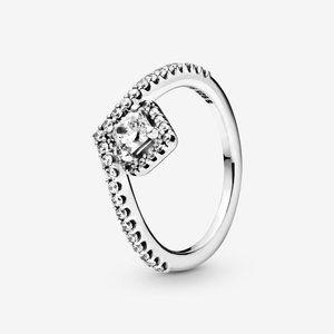🔥PANDORA Square Sparkle Wishbone Ring